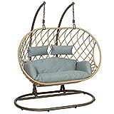 GardenCo Milan Double Hanging Egg Chair - Outdoor and Indoor...
