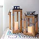 Lights4fun Large Nautical Wooden Candle Lantern LED Battery...