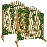 Deuba Expanding Trellis Fence 180x107cm Freestanding Wooden...