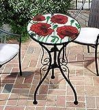 Iron/Glass Round Mosaic Design Side Table Garden Outdoor Patio...