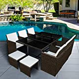 Panana 10 Seater Rattan Garden Furniture Set Dining Table and...