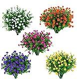 Amajoy 15 Bundles Outdoors Artificial Flowers Faux Plastic...