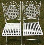 Maribelle White Square Metal Floral Designed Folding Outdoor...