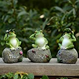3 Pack Frog Garden Statues - Frog Sitting on Stone Garden...