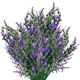 Artificial Lavender Flowers Bouquets 8 Pieces, Plastic UV...