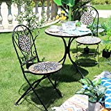Home Source Sofia Mosaic Bistro Set Outdoor Patio Garden...