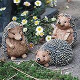 Farmwood Set of 3 Hedgehog Garden Animal Ornaments Outdoor...