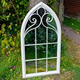 Woodside Selby XL Decorative Outdoor Garden Arch Mirror, White...