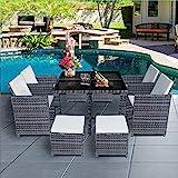 Panana 8 Seater Rattan Garden Furniture Set Dining Table and...