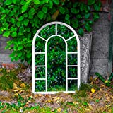 Maribelle Large Decorative White Metal Arch Mirror - Garden,...
