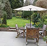 GlamHaus Garden Parasol Table Umbrella with Crank Handle for...