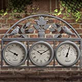 BARGAINSGALORE 67CM GARDEN WALL WEATHER STATION CLOCK THERMOMETER...