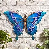 Creekwood Large Butterfly Glass/Metal Garden Wall Art Decoration,...