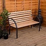 Garden Vida Slatted Garden Bench Wooden Seater Outdoor Furniture...
