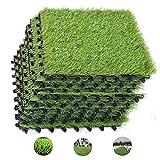 ybaymy 18 Pack Artificial Grass Tiles, Interlocking Garden Grass...