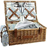 HappyPicnic Wicker Picnic Basket Set for 4 Persons | Large Willow...