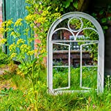 Woodside Acton Large Decorative Outdoor Garden Arch Mirror, White...