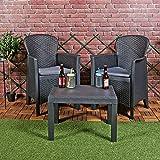 URBNLIVING 3pc Outdoor Garden Furniture Cushioned Black Rattan...