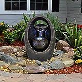 GEEZY Garden Water Feature LED Fountain Indoor/Outdoor Cascading...