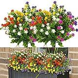 10 Bundles Fake Flowers for Decoration, 5 Colors UV Resistant...